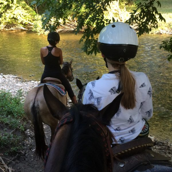 From the rear shot of two horseback riding campers getting ready to cross into the water of San Antonio river, mounted on grulla mare and between the ears shot of equine photographer, not pictured.  Riders are wearing helmets