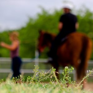 Riding student stands with trainer MacCoy, who provides horse volunteer opportunities to Austin community members