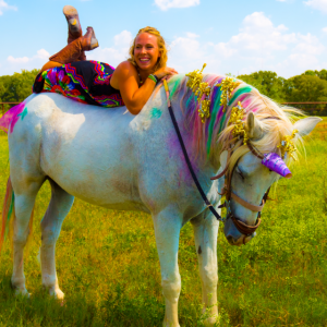 Equine trainer MacCoy on her favorite unicorn, Maverick