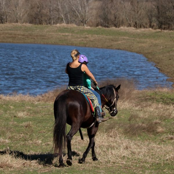 horse trainer MacCoy rides black horse in front of large pond with equestrian riding student