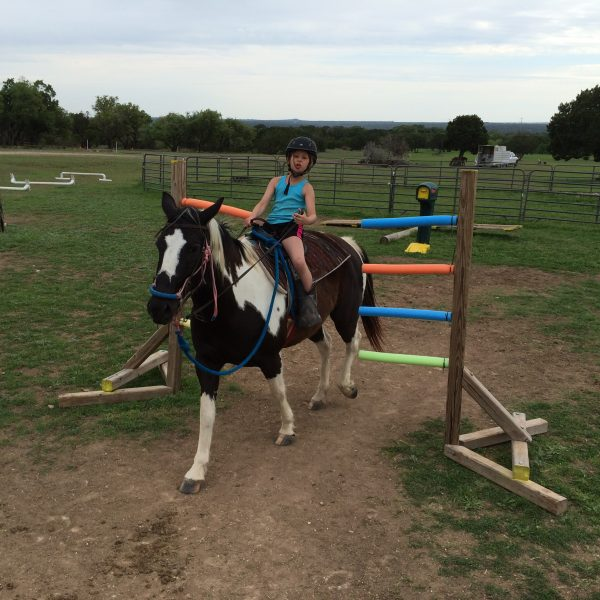 A colorful noodle wall of equestrian obstacles is presented to this fearless youth horseback rider.  This young lady is guiding our registrable APHA mare, Cocala, through a series of obstacles at Parries Haynes Equestrian Center just northwest of Austin, Texas.