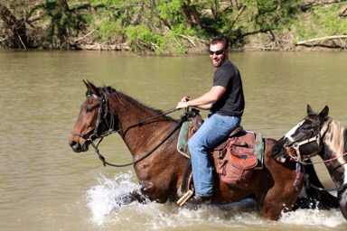 Big bay gelding for sale, pictured with rider in Bastrop